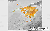 Political Shades Panoramic Map of Kyushu, desaturated