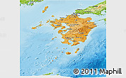 Political Shades Panoramic Map of Kyushu, physical outside