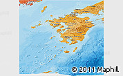 Political Shades Panoramic Map of Kyushu