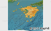 Political Shades Panoramic Map of Kyushu, satellite outside