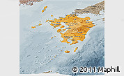 Political Shades Panoramic Map of Kyushu, semi-desaturated