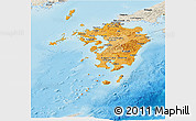 Political Shades Panoramic Map of Kyushu, shaded relief outside