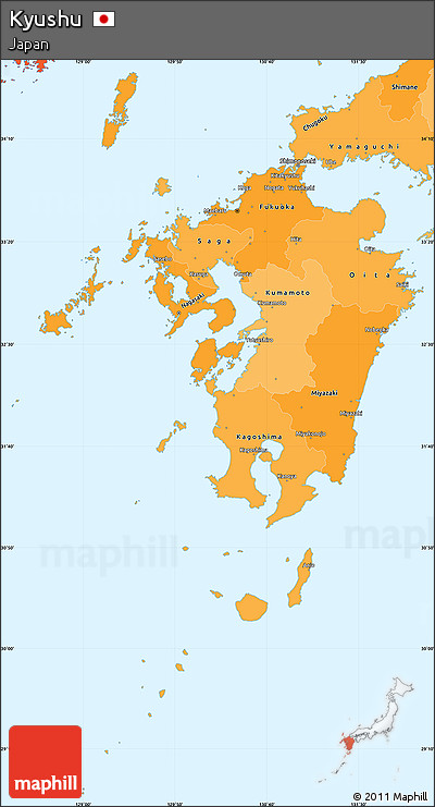 Political Shades Simple Map of Kyushu