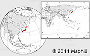 Blank Location Map of Japan, highlighted continent, within the entire continent