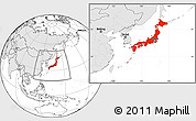 Blank Location Map of Japan, highlighted continent