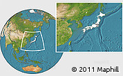 Blank Location Map of Japan, satellite outside