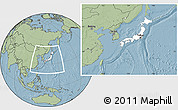 Blank Location Map of Japan, savanna style outside, hill shading outside