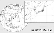 Gray Location Map of Japan, blank outside