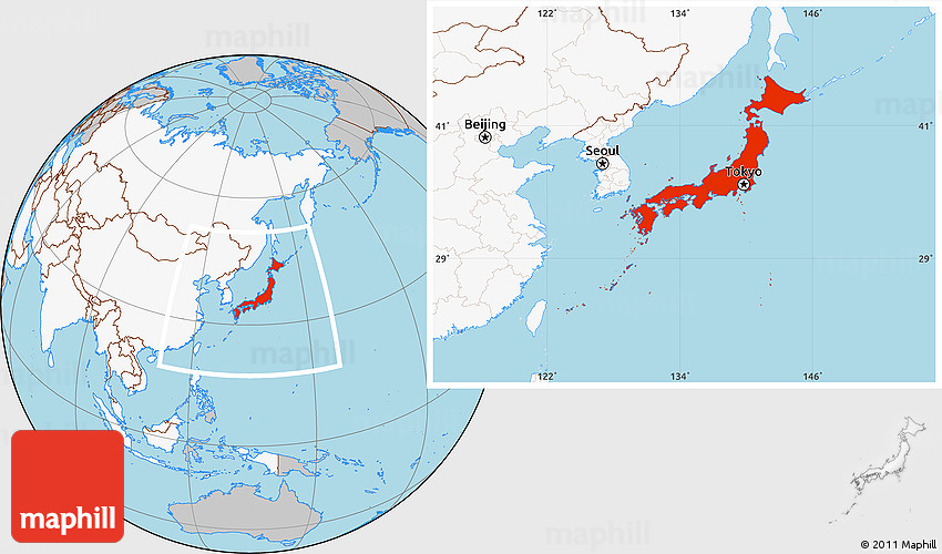 Elegant Gray Location Map Of Japan, Highlighted Continent