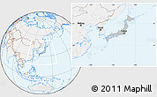 Gray Location Map of Japan, lighten