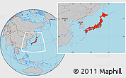 Gray Location Map of Japan