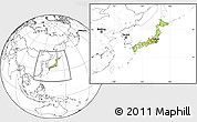 Physical Location Map of Japan, blank outside