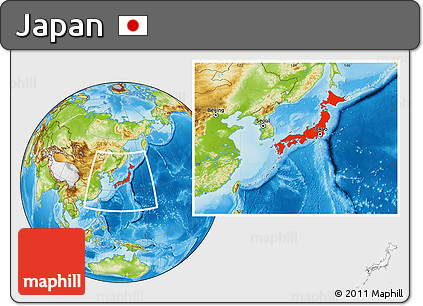 Physical Location Map of Japan