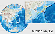 Physical Location Map of Japan, lighten, semi-desaturated, land only