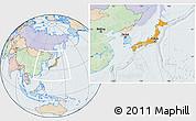 Political Location Map of Japan, lighten