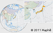 Political Location Map of Japan, lighten, semi-desaturated