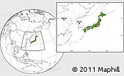 Satellite Location Map of Japan, blank outside