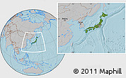 Satellite Location Map of Japan, gray outside, hill shading