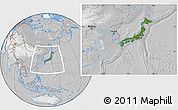 Satellite Location Map of Japan, lighten, desaturated