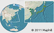 Satellite Location Map of Japan, lighten, land only