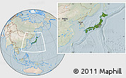 Satellite Location Map of Japan, lighten