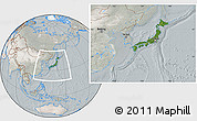 Satellite Location Map of Japan, lighten, semi-desaturated