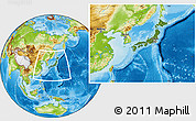 Satellite Location Map of Japan, physical outside