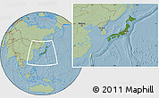 Satellite Location Map of Japan, savanna style outside, hill shading