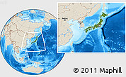 Satellite Location Map of Japan, shaded relief outside