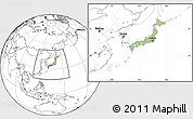 Savanna Style Location Map of Japan, blank outside