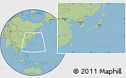 Savanna Style Location Map of Japan, hill shading inside