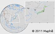 Savanna Style Location Map of Japan, lighten, desaturated