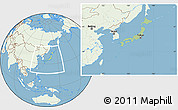 Savanna Style Location Map of Japan, lighten, land only