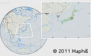 Savanna Style Location Map of Japan, lighten, semi-desaturated