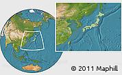 Savanna Style Location Map of Japan, satellite outside