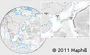 Shaded Relief Location Map of Japan, lighten, desaturated