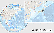 Shaded Relief Location Map of Japan, lighten