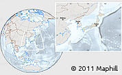 Shaded Relief Location Map of Japan, lighten, semi-desaturated