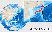 Shaded Relief Location Map of Japan