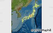 Physical Map of Japan, darken