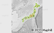 Physical Map of Japan, lighten, desaturated
