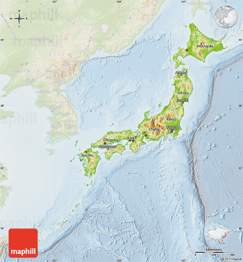 physical map of japan  lighten
