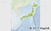Physical Map of Japan, lighten