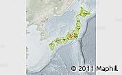 Physical Map of Japan, lighten, semi-desaturated