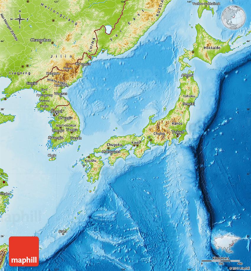 Physical Map Of Japan - Tokyo japan 3d map