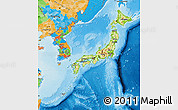 Physical Map of Japan, political outside, shaded relief sea