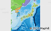 Physical Map of Japan, political shades outside, shaded relief sea