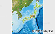 Physical Map of Japan, satellite outside, shaded relief sea