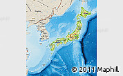 Physical Map of Japan, shaded relief outside