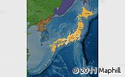 Political Shades Map of Japan, darken